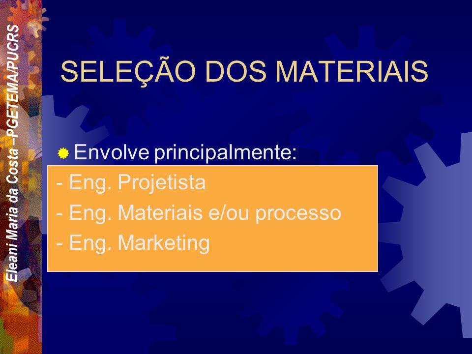 Eleani Maria da Costa –PGETEMA/PUCRS Quais os critérios que um engenheiro deve adotar para selecionar um material entre tantos outros? Em raras ocasiõ