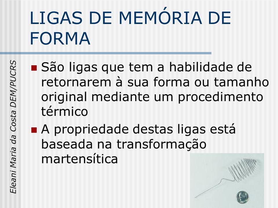 Eleani Maria da Costa DEM/PUCRS LIGAS DE MEMÓRIA DE FORMA São ligas que tem a habilidade de retornarem à sua forma ou tamanho original mediante um pro