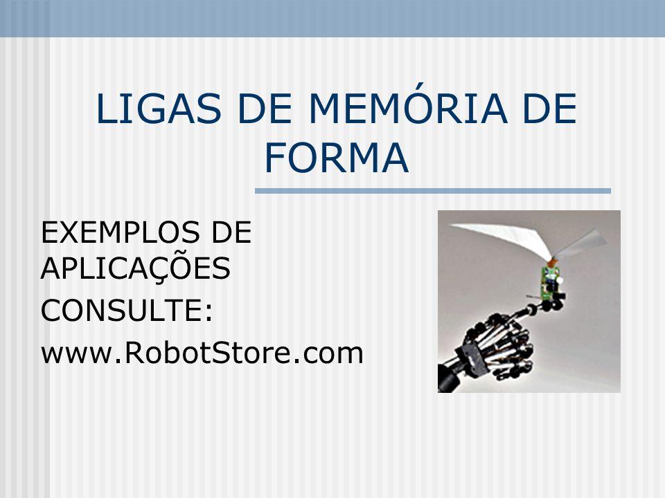 LIGAS DE MEMÓRIA DE FORMA EXEMPLOS DE APLICAÇÕES CONSULTE: www.RobotStore.com
