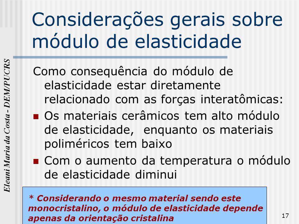 Eleani Maria da Costa - DEM/PUCRS 17 Considerações gerais sobre módulo de elasticidade Como consequência do módulo de elasticidade estar diretamente r