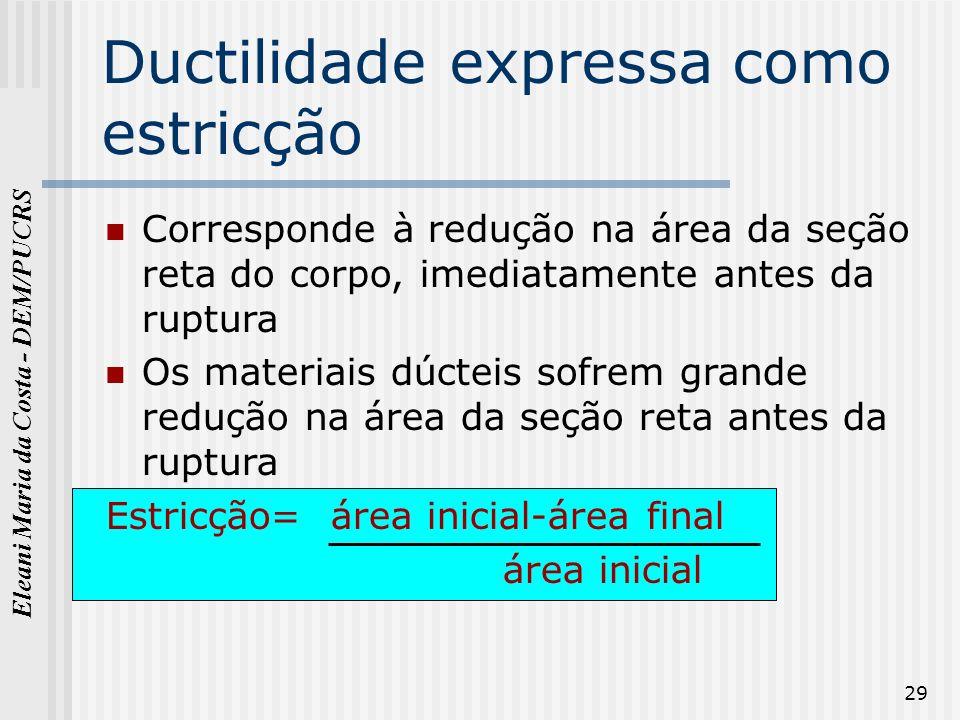 Eleani Maria da Costa - DEM/PUCRS 29 Ductilidade expressa como estricção Corresponde à redução na área da seção reta do corpo, imediatamente antes da