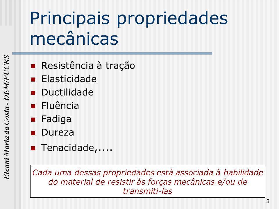 Eleani Maria da Costa - DEM/PUCRS 3 Principais propriedades mecânicas Resistência à tração Elasticidade Ductilidade Fluência Fadiga Dureza Tenacidade,