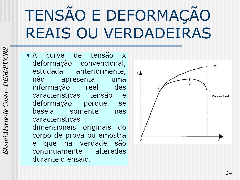 Eleani Maria da Costa - DEM/PUCRS 34 TENSÃO E DEFORMAÇÃO REAIS OU VERDADEIRAS A curva de tensão x deformação convencional, estudada anteriormente, não