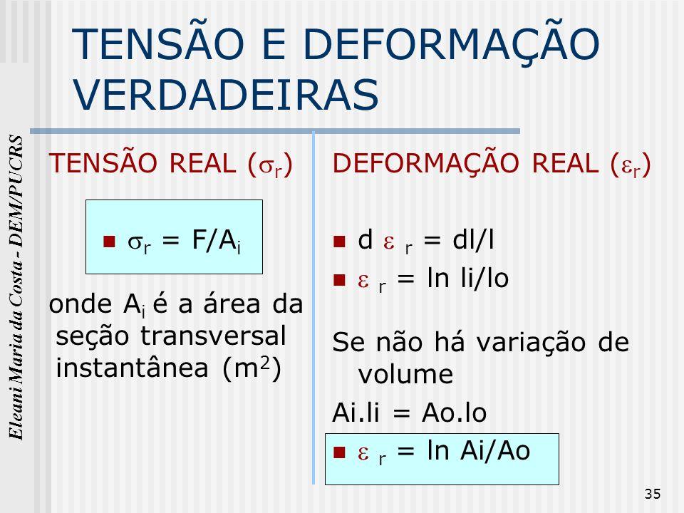 Eleani Maria da Costa - DEM/PUCRS 35 TENSÃO E DEFORMAÇÃO VERDADEIRAS TENSÃO REAL ( r ) r = F/A i onde A i é a área da seção transversal instantânea (m