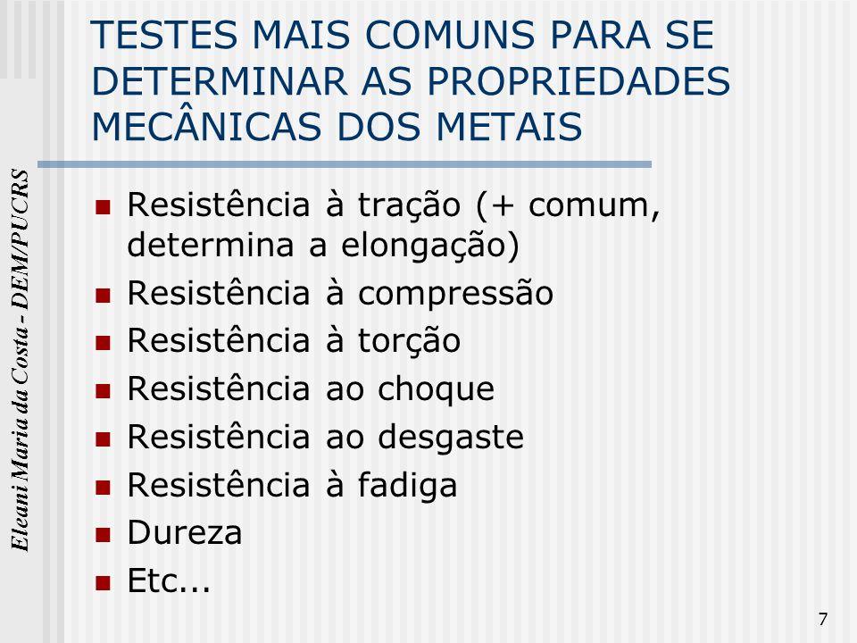 Eleani Maria da Costa - DEM/PUCRS 7 TESTES MAIS COMUNS PARA SE DETERMINAR AS PROPRIEDADES MECÂNICAS DOS METAIS Resistência à tração (+ comum, determin
