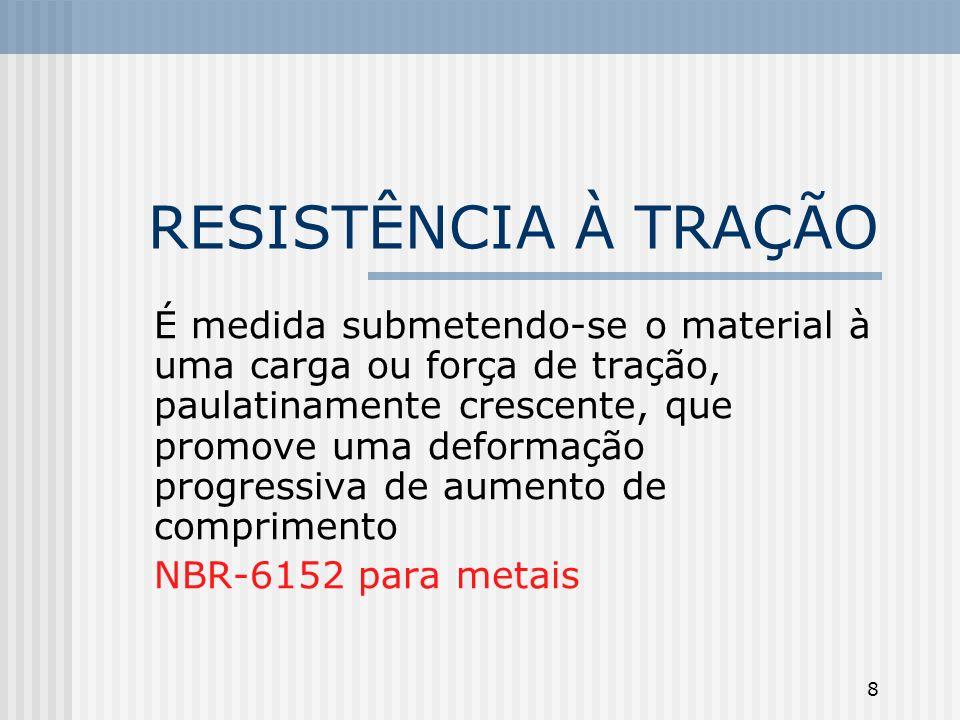 8 RESISTÊNCIA À TRAÇÃO É medida submetendo-se o material à uma carga ou força de tração, paulatinamente crescente, que promove uma deformação progress