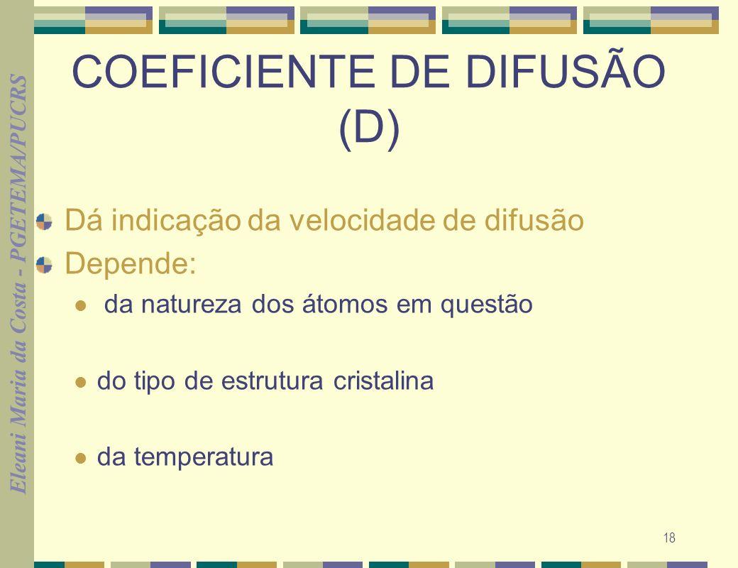 Eleani Maria da Costa - PGETEMA/PUCRS 18 COEFICIENTE DE DIFUSÃO (D) Dá indicação da velocidade de difusão Depende: da natureza dos átomos em questão do tipo de estrutura cristalina da temperatura