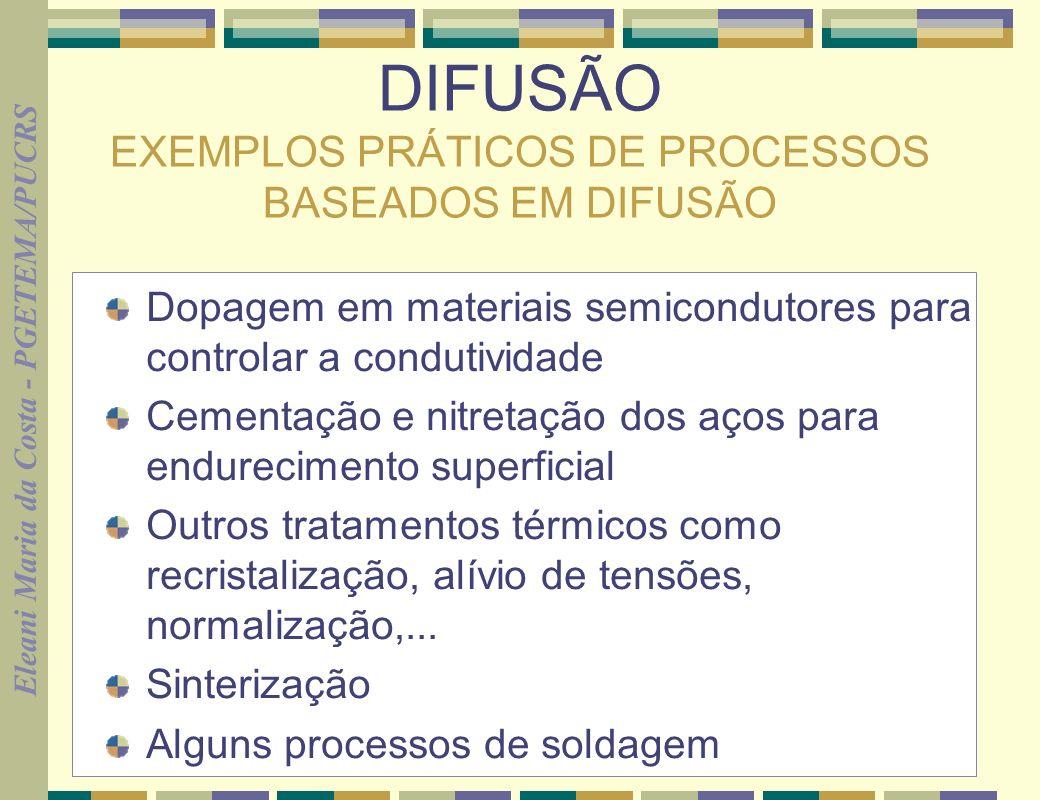 Eleani Maria da Costa - PGETEMA/PUCRS 2 DIFUSÃO EXEMPLOS PRÁTICOS DE PROCESSOS BASEADOS EM DIFUSÃO Dopagem em materiais semicondutores para controlar