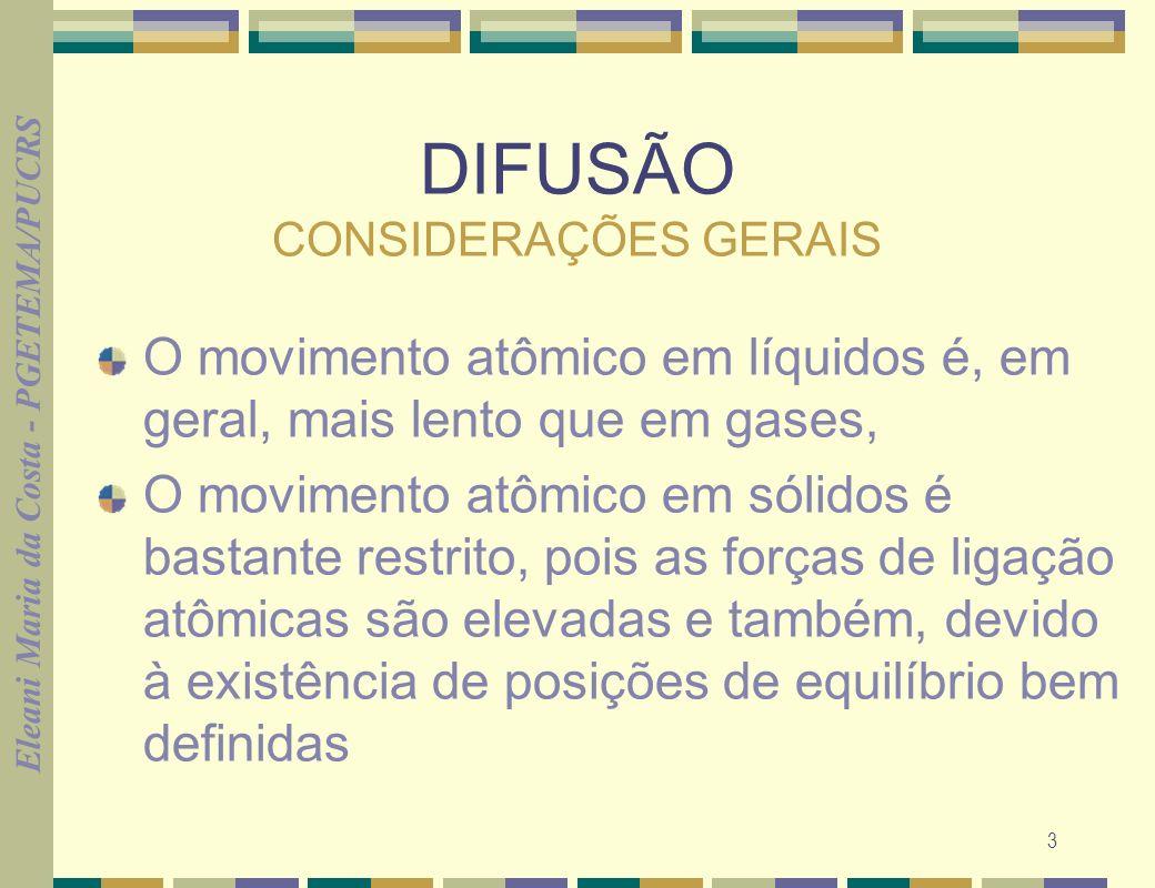 Eleani Maria da Costa - PGETEMA/PUCRS 3 DIFUSÃO CONSIDERAÇÕES GERAIS O movimento atômico em líquidos é, em geral, mais lento que em gases, O movimento
