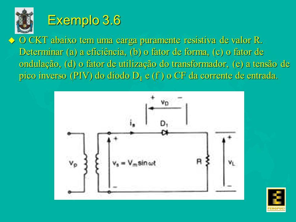Exemplo 3.6 u O CKT abaixo tem uma carga puramente resistiva de valor R.