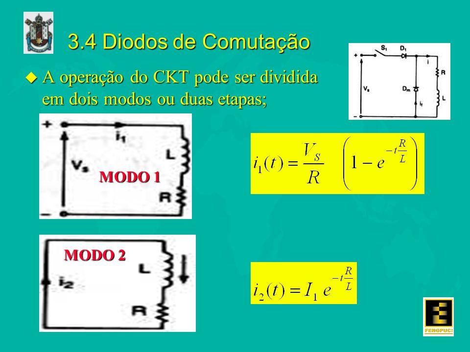 3.4 Diodos de Comutação u A operação do CKT pode ser dividida em dois modos ou duas etapas; MODO 1 MODO 2