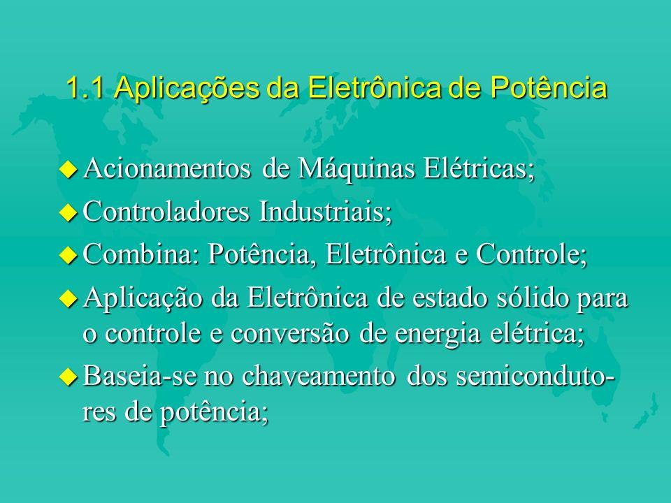 1.1 Aplicações da Eletrônica de Potência u Acionamentos de Máquinas Elétricas; u Controladores Industriais; u Combina: Potência, Eletrônica e Controle; u Aplicação da Eletrônica de estado sólido para o controle e conversão de energia elétrica; u Baseia-se no chaveamento dos semiconduto- res de potência;