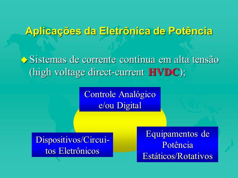 Aplicações da Eletrônica de Potência u Sistemas de corrente contínua em alta tensão (high voltage direct-current HVDC); Dispositivos/Circui- tos Eletrônicos Controle Analógico e/ou Digital Equipamentos de Potência Estáticos/Rotativos