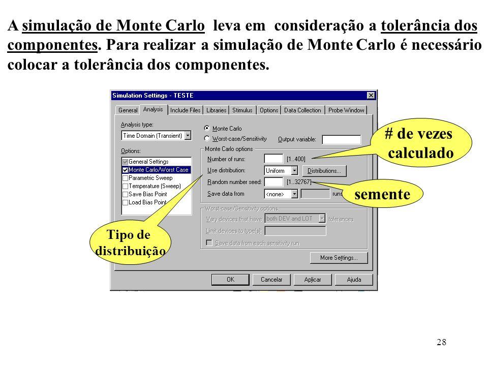 28 A simulação de Monte Carlo leva em consideração a tolerância dos componentes. Para realizar a simulação de Monte Carlo é necessário colocar a toler