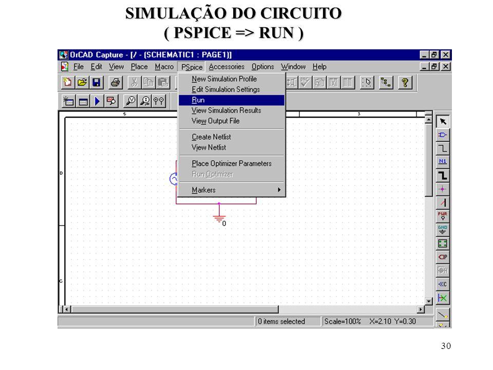 30 SIMULAÇÃO DO CIRCUITO ( PSPICE => RUN )
