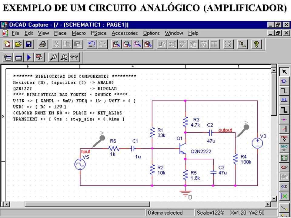 40 EXEMPLO DE UM CIRCUITO ANALÓGICO (AMPLIFICADOR)