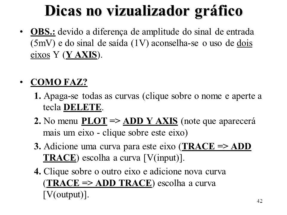 42 Dicas no vizualizador gráfico OBS.: devido a diferença de amplitude do sinal de entrada (5mV) e do sinal de saída (1V) aconselha-se o uso de dois e