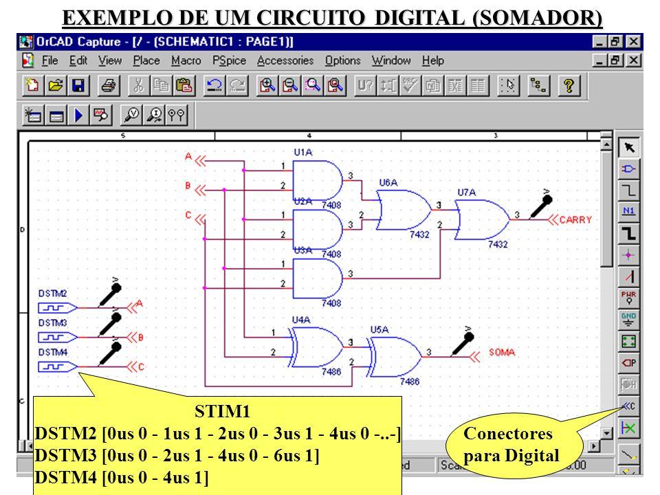 45 Conectores para Digital STIM1 DSTM2 [0us 0 - 1us 1 - 2us 0 - 3us 1 - 4us 0 -..-] DSTM3 [0us 0 - 2us 1 - 4us 0 - 6us 1] DSTM4 [0us 0 - 4us 1] EXEMPLO DE UM CIRCUITO DIGITAL (SOMADOR)