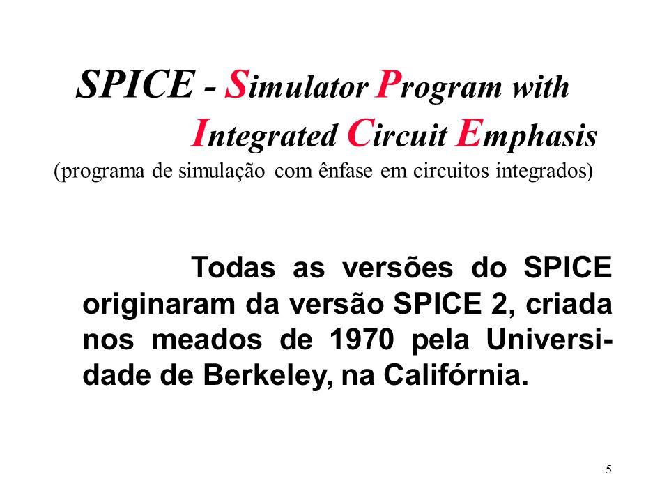 5 SPICE - S imulator P rogram with I ntegrated C ircuit E mphasis (programa de simulação com ênfase em circuitos integrados) Todas as versões do SPICE originaram da versão SPICE 2, criada nos meados de 1970 pela Universi- dade de Berkeley, na Califórnia.