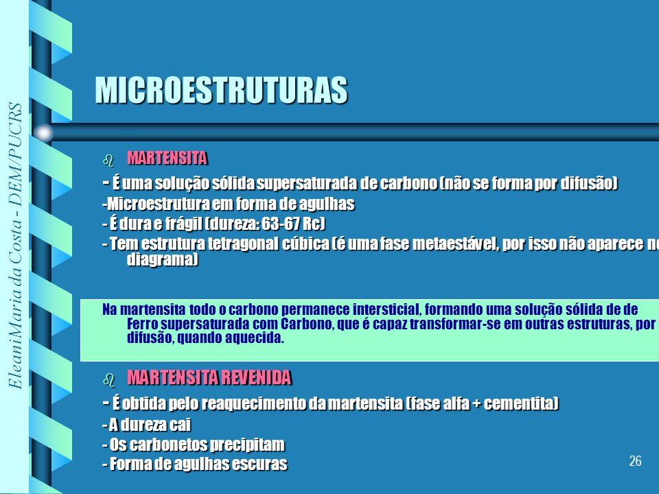 Eleani Maria da Costa - DEM/PUCRS 26 MICROESTRUTURAS b MARTENSITA - É uma solução sólida supersaturada de carbono (não se forma por difusão) -Microest