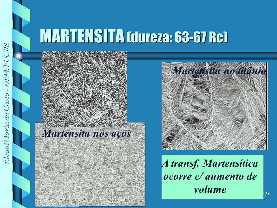 Eleani Maria da Costa - DEM/PUCRS 27 MARTENSITA (dureza: 63-67 Rc) Martensita nos aços Martensita no titânio A transf. Martensítica ocorre c/ aumento