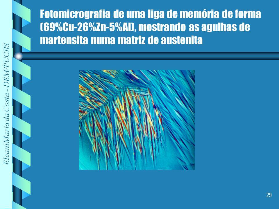 Eleani Maria da Costa - DEM/PUCRS 29 Fotomicrografia de uma liga de memória de forma (69%Cu-26%Zn-5%Al), mostrando as agulhas de martensita numa matri