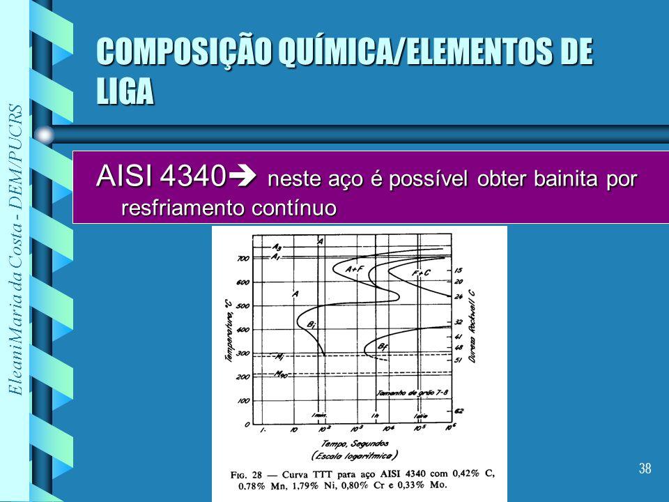 Eleani Maria da Costa - DEM/PUCRS 38 COMPOSIÇÃO QUÍMICA/ELEMENTOS DE LIGA AISI 4340 neste aço é possível obter bainita por resfriamento contínuo
