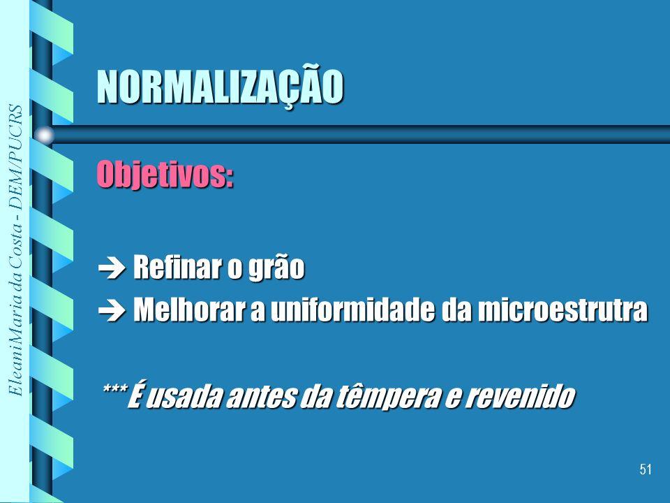 Eleani Maria da Costa - DEM/PUCRS 51 NORMALIZAÇÃO Objetivos: Refinar o grão Refinar o grão Melhorar a uniformidade da microestrutra Melhorar a uniform