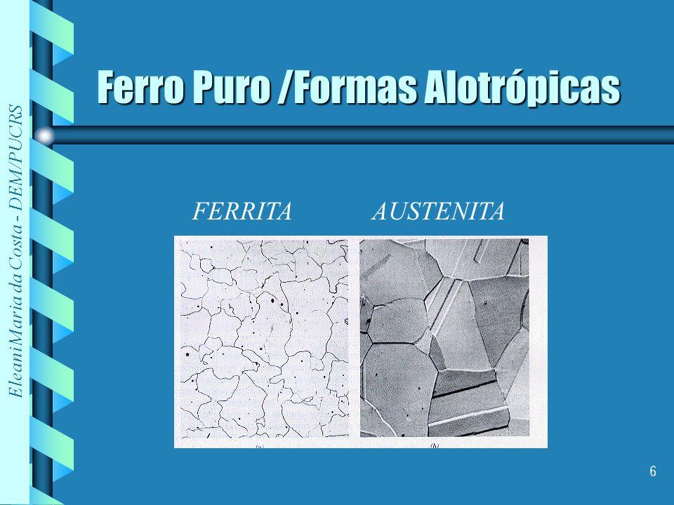 Eleani Maria da Costa - DEM/PUCRS 6 Ferro Puro /Formas Alotrópicas FERRITAAUSTENITA