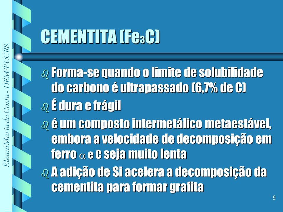 Eleani Maria da Costa - DEM/PUCRS 9 CEMENTITA (Fe 3 C) b Forma-se quando o limite de solubilidade do carbono é ultrapassado (6,7% de C) b É dura e frá