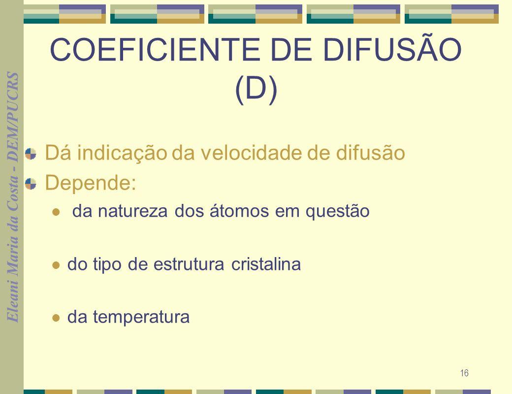Eleani Maria da Costa - DEM/PUCRS 16 COEFICIENTE DE DIFUSÃO (D) Dá indicação da velocidade de difusão Depende: da natureza dos átomos em questão do ti