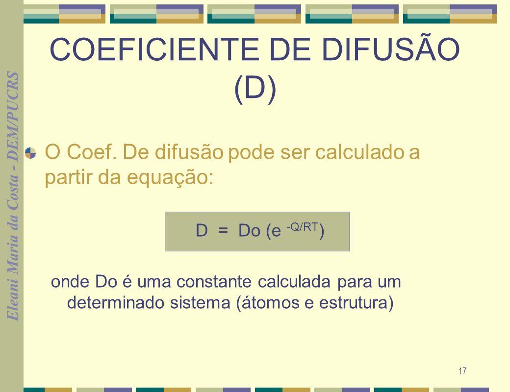 Eleani Maria da Costa - DEM/PUCRS 17 COEFICIENTE DE DIFUSÃO (D) O Coef. De difusão pode ser calculado a partir da equação: D = Do (e -Q/RT ) onde Do é