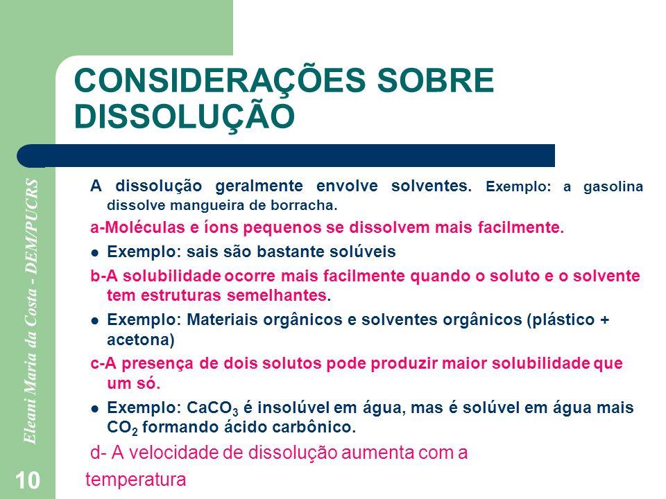 Eleani Maria da Costa - DEM/PUCRS 10 CONSIDERAÇÕES SOBRE DISSOLUÇÃO A dissolução geralmente envolve solventes. Exemplo: a gasolina dissolve mangueira
