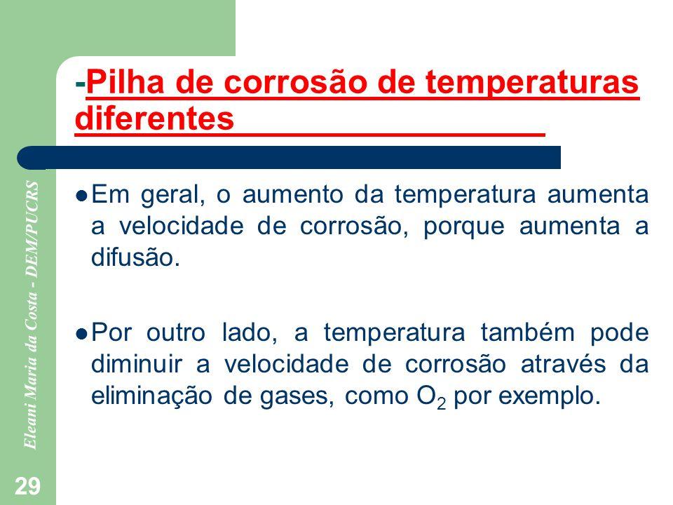 Eleani Maria da Costa - DEM/PUCRS 29 -Pilha de corrosão de temperaturas diferentes Em geral, o aumento da temperatura aumenta a velocidade de corrosão