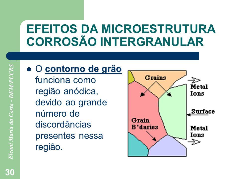 Eleani Maria da Costa - DEM/PUCRS 30 EFEITOS DA MICROESTRUTURA CORROSÃO INTERGRANULAR contorno de grão O contorno de grão funciona como região anódica