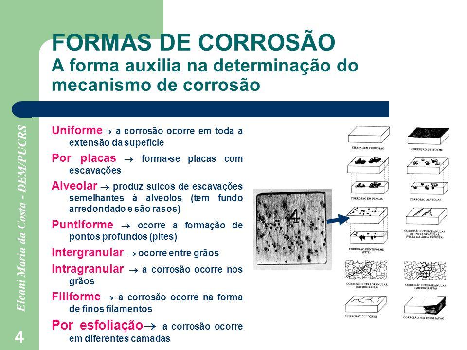 Eleani Maria da Costa - DEM/PUCRS 4 FORMAS DE CORROSÃO A forma auxilia na determinação do mecanismo de corrosão Uniforme a corrosão ocorre em toda a e