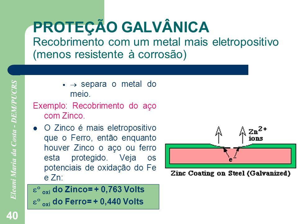 Eleani Maria da Costa - DEM/PUCRS 40 PROTEÇÃO GALVÂNICA Recobrimento com um metal mais eletropositivo (menos resistente à corrosão) separa o metal do