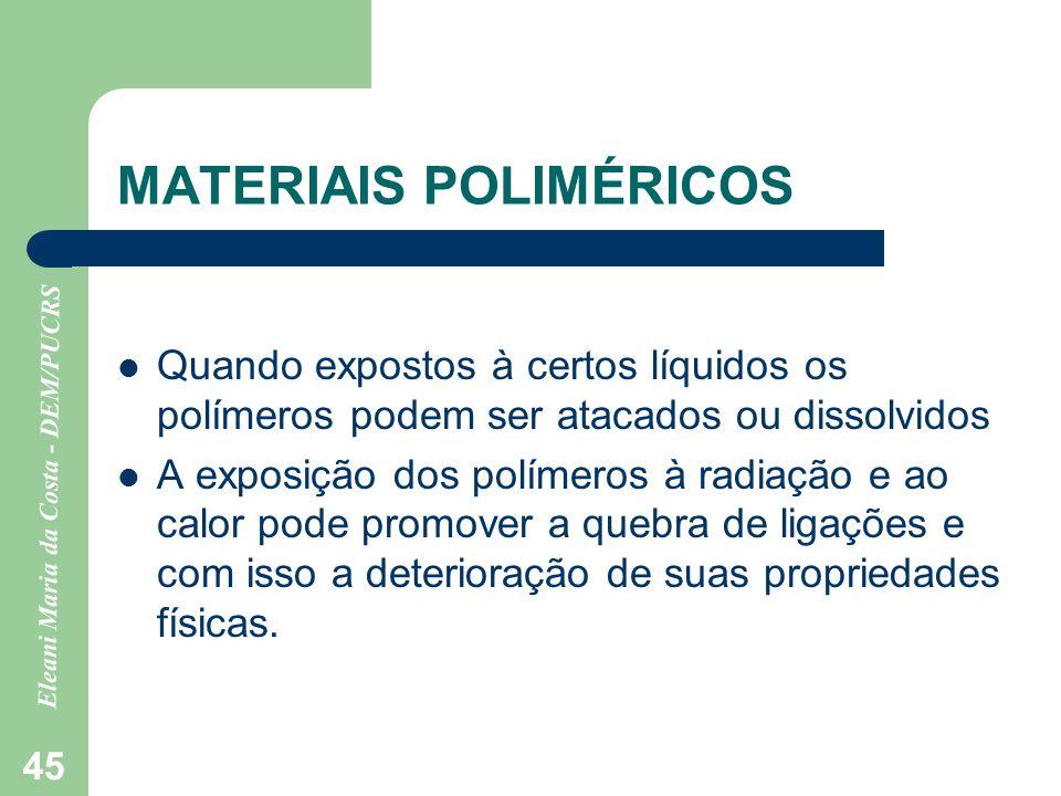 Eleani Maria da Costa - DEM/PUCRS 45 MATERIAIS POLIMÉRICOS Quando expostos à certos líquidos os polímeros podem ser atacados ou dissolvidos A exposiçã