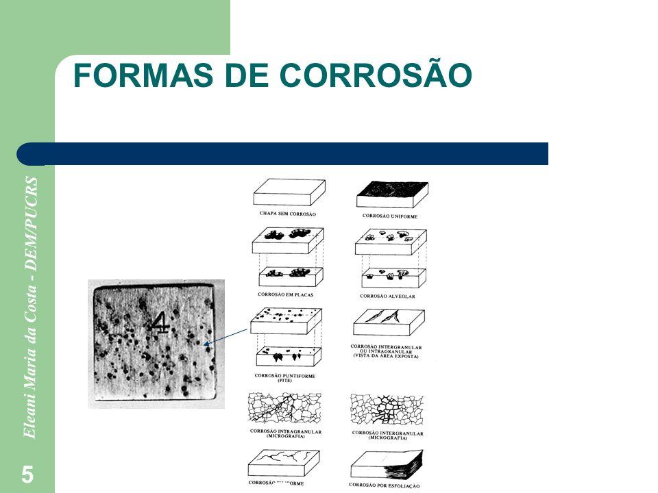 Eleani Maria da Costa - DEM/PUCRS 26 -Pilha de corrosão formada pelo mesmo material e mesmo eletrólito, porém com teores de gases dissolvidos diferentes No cátodo: H 2 O + ½ O 2 + 2 elétrons 2 (OH - ) MAIS AERADO Os elétrons para a redução da água vem das áreas deficientes em oxigênio.