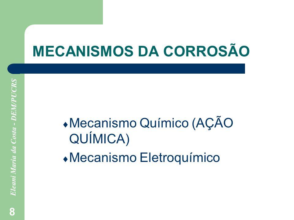 Eleani Maria da Costa - DEM/PUCRS 9 MECANISMO QUÍMICO Neste caso há reação direta com o meio corrosivo, sendo os casos mais comuns a reação com o oxigênio (OXIDAÇÃO SECA), a dissolução e a formação de compostos.