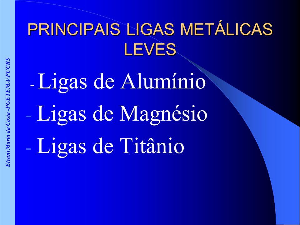 Eleani Maria da Costa -PGETEMA/ PUCRS PRINCIPAIS LIGAS METÁLICAS LEVES - Ligas de Alumínio - Ligas de Magnésio - Ligas de Titânio