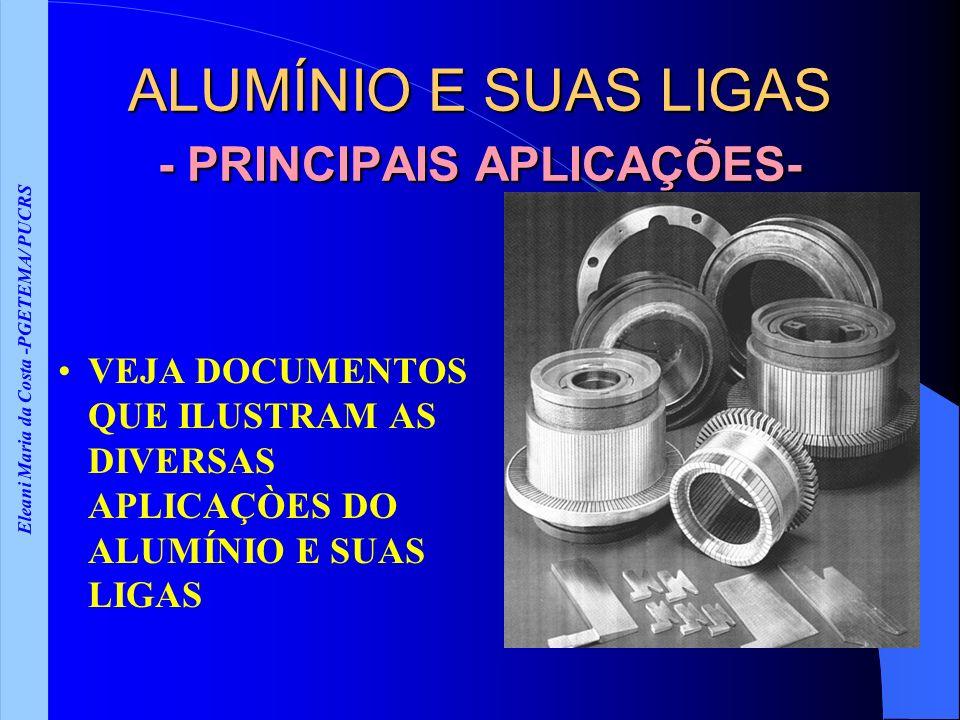 Eleani Maria da Costa -PGETEMA/ PUCRS ALUMÍNIO E SUAS LIGAS - PRINCIPAIS APLICAÇÕES- VEJA DOCUMENTOS QUE ILUSTRAM AS DIVERSAS APLICAÇÒES DO ALUMÍNIO E SUAS LIGAS