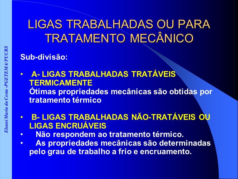 Eleani Maria da Costa -PGETEMA/ PUCRS LIGAS TRABALHADAS OU PARA TRATAMENTO MECÂNICO Sub-divisão: A- LIGAS TRABALHADAS TRATÁVEIS TERMICAMENTE Ótimas propriedades mecânicas são obtidas por tratamento térmico B- LIGAS TRABALHADAS NÃO-TRATÁVEIS OU LIGAS ENCRUÁVEIS Não respondem ao tratamento térmico.