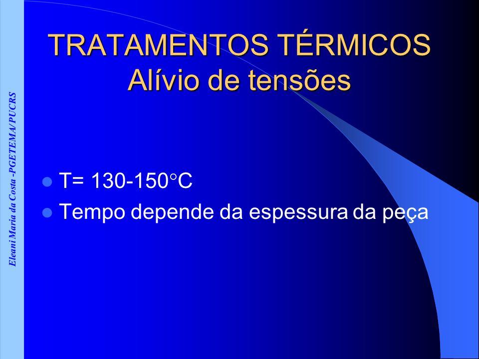 Eleani Maria da Costa -PGETEMA/ PUCRS TRATAMENTOS TÉRMICOS Alívio de tensões T= 130-150 C Tempo depende da espessura da peça