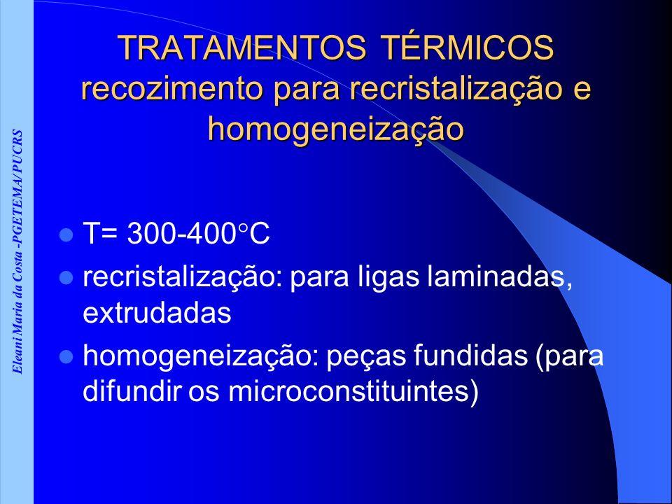 Eleani Maria da Costa -PGETEMA/ PUCRS TRATAMENTOS TÉRMICOS recozimento para recristalização e homogeneização T= 300-400 C recristalização: para ligas