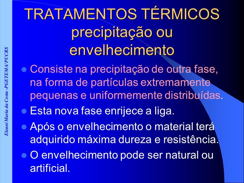 Eleani Maria da Costa -PGETEMA/ PUCRS TRATAMENTOS TÉRMICOS precipitação ou envelhecimento Consiste na precipitação de outra fase, na forma de partículas extremamente pequenas e uniformemente distribuídas.