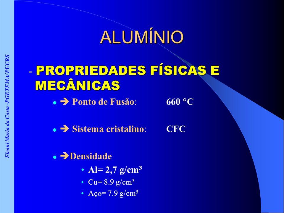 Eleani Maria da Costa -PGETEMA/ PUCRS ALUMÍNIO PROPRIEDADES FÍSICAS E MECÂNICAS - PROPRIEDADES FÍSICAS E MECÂNICAS Ponto de Fusão: 660 C Sistema cristalino: CFC Densidade Al= 2,7 g/cm 3 Cu= 8.9 g/cm 3 Aço= 7.9 g/cm 3