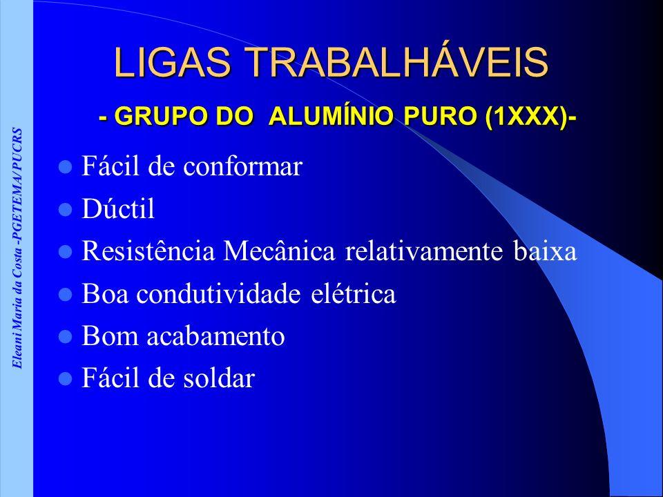 Eleani Maria da Costa -PGETEMA/ PUCRS LIGAS TRABALHÁVEIS - GRUPO DO ALUMÍNIO PURO (1XXX)- Fácil de conformar Dúctil Resistência Mecânica relativamente