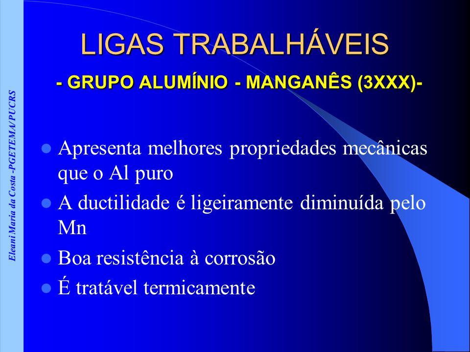 Eleani Maria da Costa -PGETEMA/ PUCRS LIGAS TRABALHÁVEIS - GRUPO ALUMÍNIO - MANGANÊS (3XXX)- Apresenta melhores propriedades mecânicas que o Al puro A