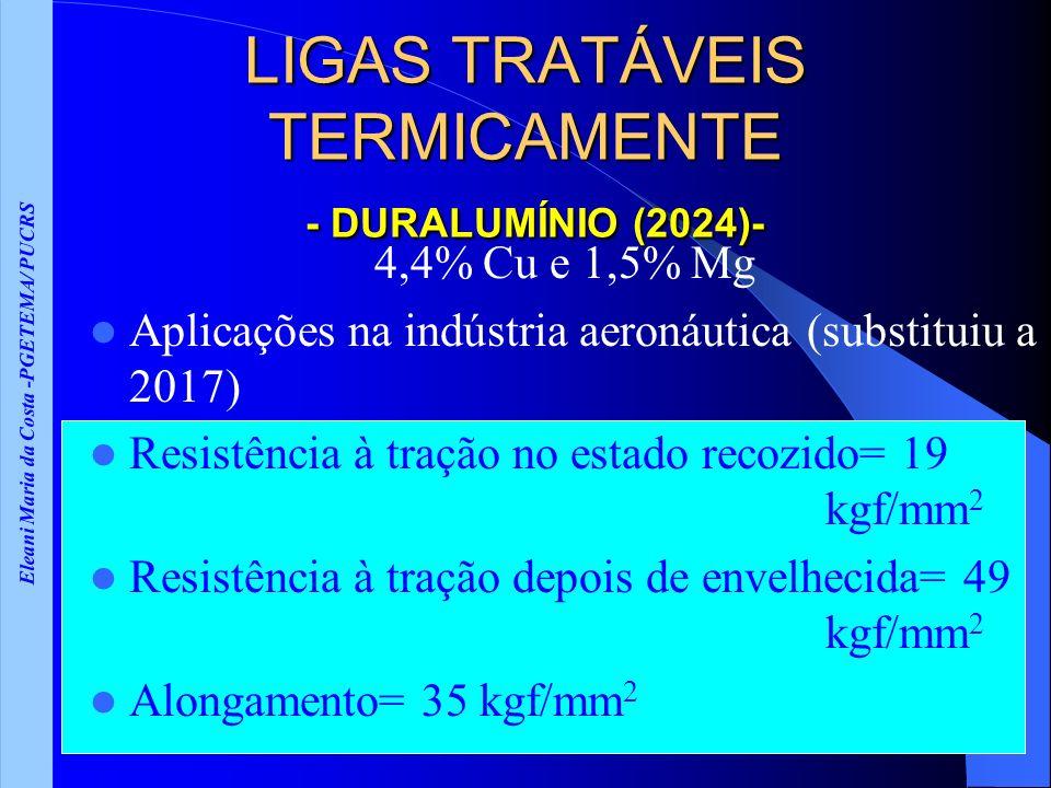Eleani Maria da Costa -PGETEMA/ PUCRS LIGAS TRATÁVEIS TERMICAMENTE - DURALUMÍNIO (2024)- 4,4% Cu e 1,5% Mg Aplicações na indústria aeronáutica (substituiu a 2017) Resistência à tração no estado recozido= 19 kgf/mm 2 Resistência à tração depois de envelhecida= 49 kgf/mm 2 Alongamento= 35 kgf/mm 2